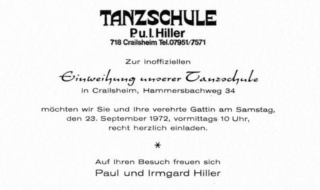 Einladung Tanzschule 1972
