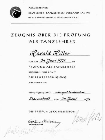 Pruefungs Zeugnis Harald Hiller 1975